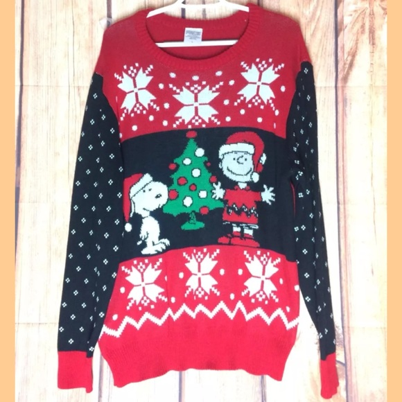 peanuts charlie brown snoopy christmas sweater